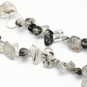 15 Inch Natural Black Rutilated Quartz 10-15mm Nugget Beads